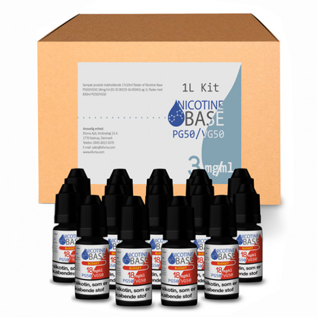 NICOTINE BASE BUDGET KIT PG50/VG50 - 3MG